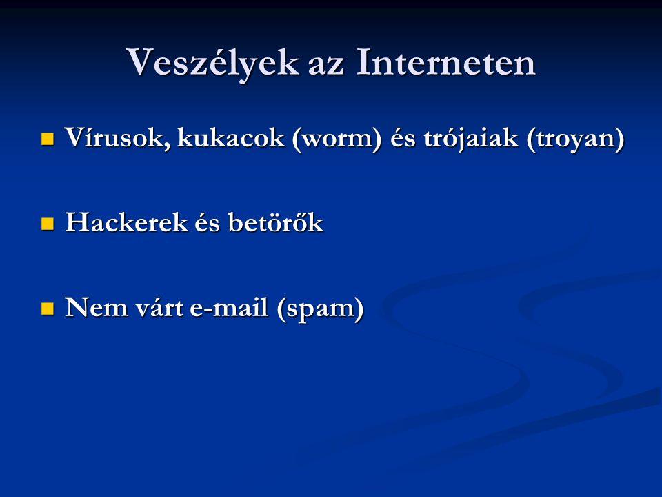 Veszélyek az Interneten  Vírusok, kukacok (worm) és trójaiak (troyan)  Hackerek és betörők  Nem várt e-mail (spam)