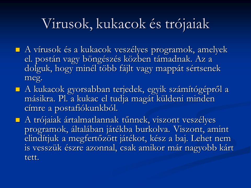 Virusok, kukacok és trójaiak  A vírusok és a kukacok veszélyes programok, amelyek el. postán vagy böngészés közben támadnak. Az a dolguk, hogy minél