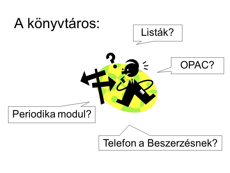 A könyvtáros: Listák OPAC Telefon a Beszerzésnek Periodika modul