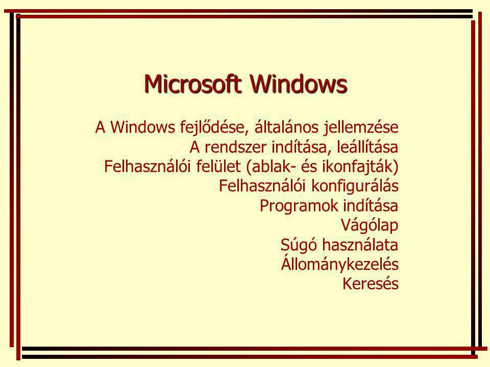 Microsoft Windows A Windows fejlődése, általános jellemzése A rendszer indítása, leállítása Felhasználói felület (ablak- és ikonfajták) Felhasználói konfigurálás Programok indítása Vágólap Súgó használata Állománykezelés Keresés