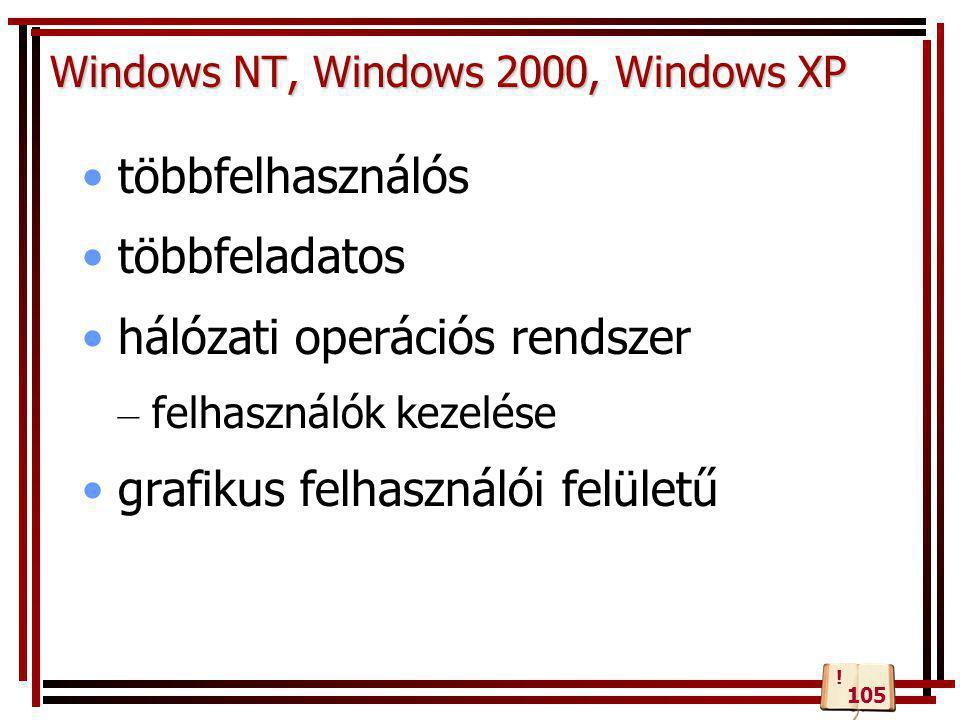 Windows NT, Windows 2000, Windows XP •többfelhasználós •többfeladatos •hálózati operációs rendszer – felhasználók kezelése •grafikus felhasználói felü