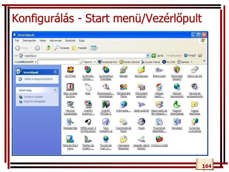 Konfigurálás - Start menü/Vezérlőpult 164