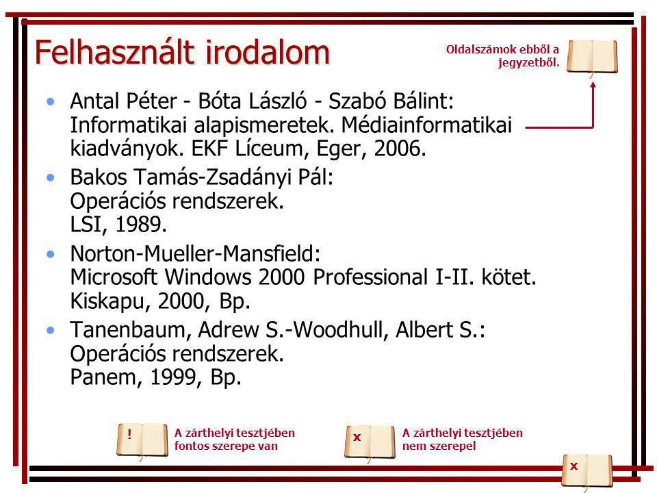 Felhasznált irodalom •Antal Péter - Bóta László - Szabó Bálint: Informatikai alapismeretek. Médiainformatikai kiadványok. EKF Líceum, Eger, 2006. •Bak