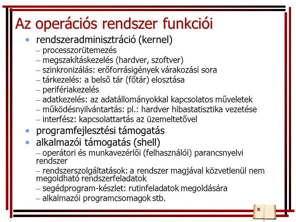 Az operációs rendszer funkciói •rendszeradminisztráció (kernel) – processzorütemezés – megszakításkezelés (hardver, szoftver) – szinkronizálás: erőfor