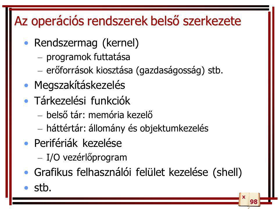 Az operációs rendszerek belső szerkezete •Rendszermag (kernel) – programok futtatása – erőforrások kiosztása (gazdaságosság) stb. •Megszakításkezelés