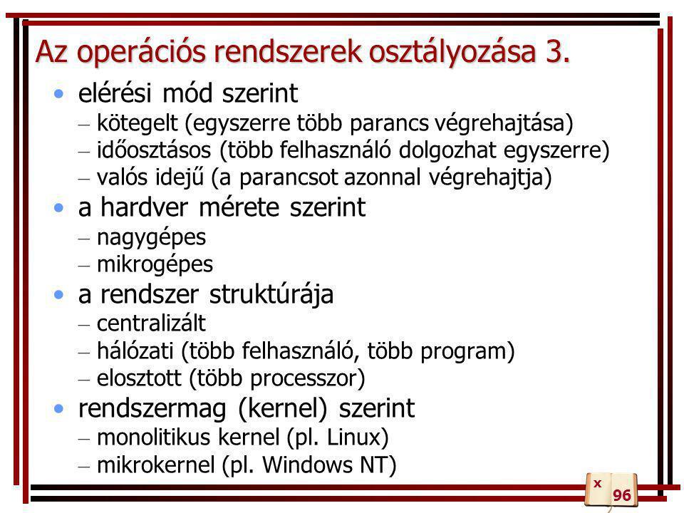 A Windows 2000/XP fájlrendszere •NTFS 4 vagy NTFS 5: •gyors adatelérés 1 GB fölött •többplatformos támogatás •fájljellemzők - egyedi tulajdonságok (készítő neve, aktuális verzió, kép felbontás, színmélység...) •hibatűrés: naplózás, még a fájl tartalmának ellenőrzésére is 98 137 x