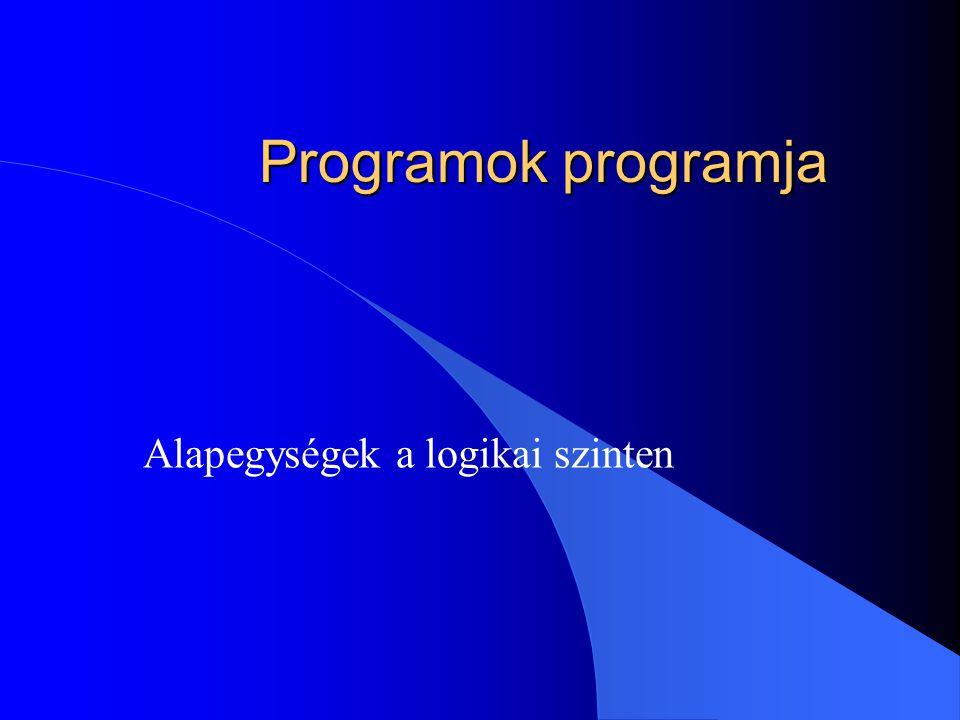 Programok programja Alapegységek a logikai szinten