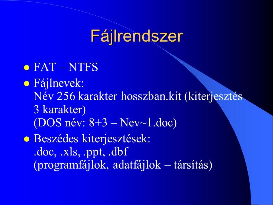 Operációs rendszer l Bitek-bájtok logikai rendszere l Perifériakezelő alapprogram DOS – Windows OS2 Linux - Unix