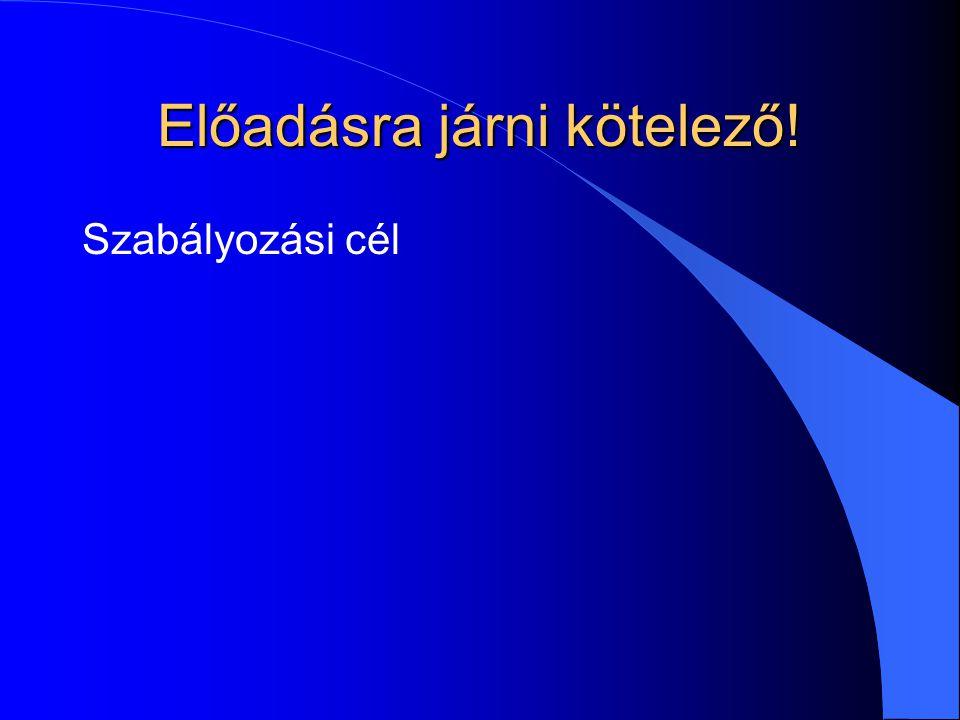 Tanulságok: a jogszabályok l bonyolultsága szükségszerű (kazuisztika) l összefüggő rendszert alkotnak –keresése: a releváns rendelkezések közötti ugrásokkal –kapcsolatrendszerere: belső-külső hivatkozási háló l Jogszabályok közötti kapcsolati típusok: –helyébe lép, módosít, kiegészít –hatályon kívül helyez (esetleg csak részlegesen) –alkalmazására lásd