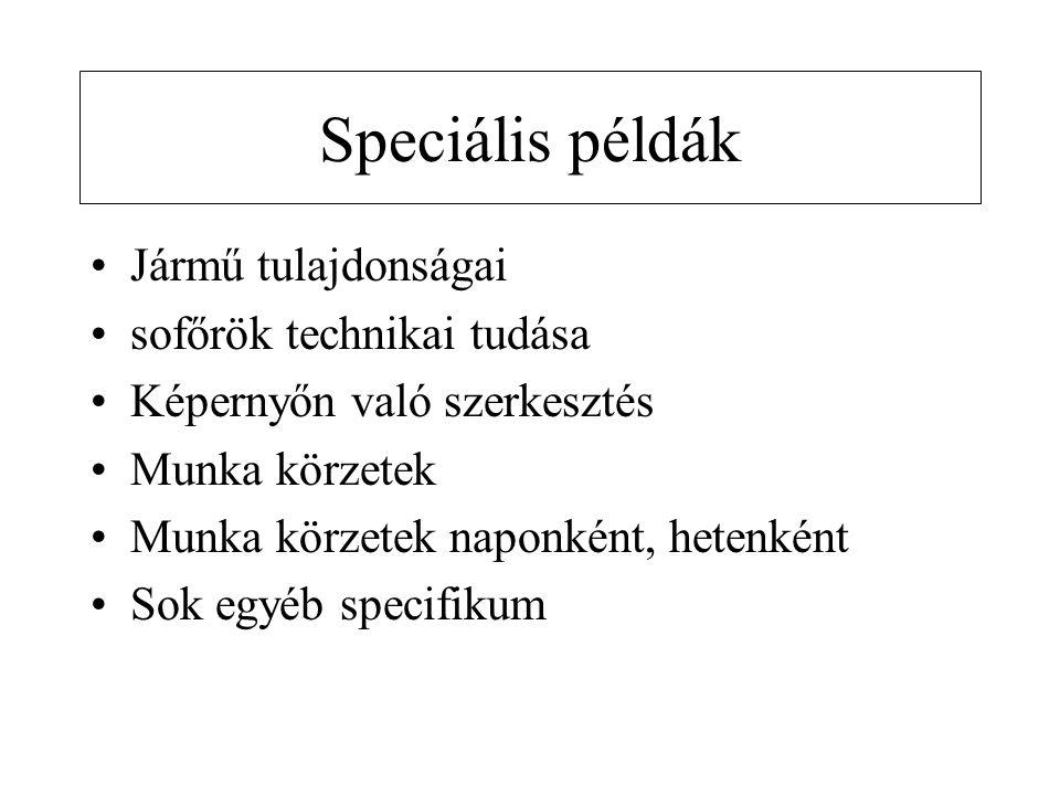 Speciális példák •Jármű tulajdonságai •sofőrök technikai tudása •Képernyőn való szerkesztés •Munka körzetek •Munka körzetek naponként, hetenként •Sok egyéb specifikum