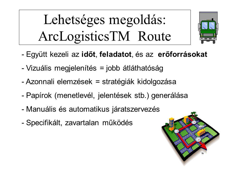 Lehetséges megoldás: ArcLogisticsTM Route - Együtt kezeli az időt, feladatot, és az erőforrásokat - Vizuális megjelenítés = jobb átláthatóság - Azonnali elemzések = stratégiák kidolgozása - Papírok (menetlevél, jelentések stb.) generálása - Manuális és automatikus járatszervezés - Specifikált, zavartalan működés