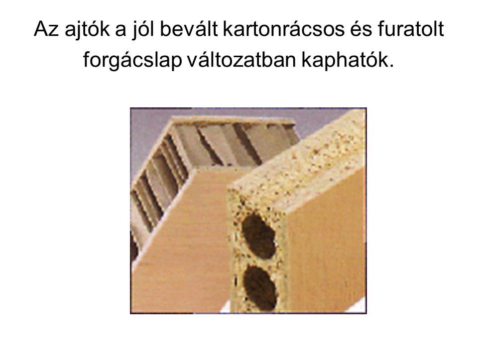 Az ajtók a jól bevált kartonrácsos és furatolt forgácslap változatban kaphatók.