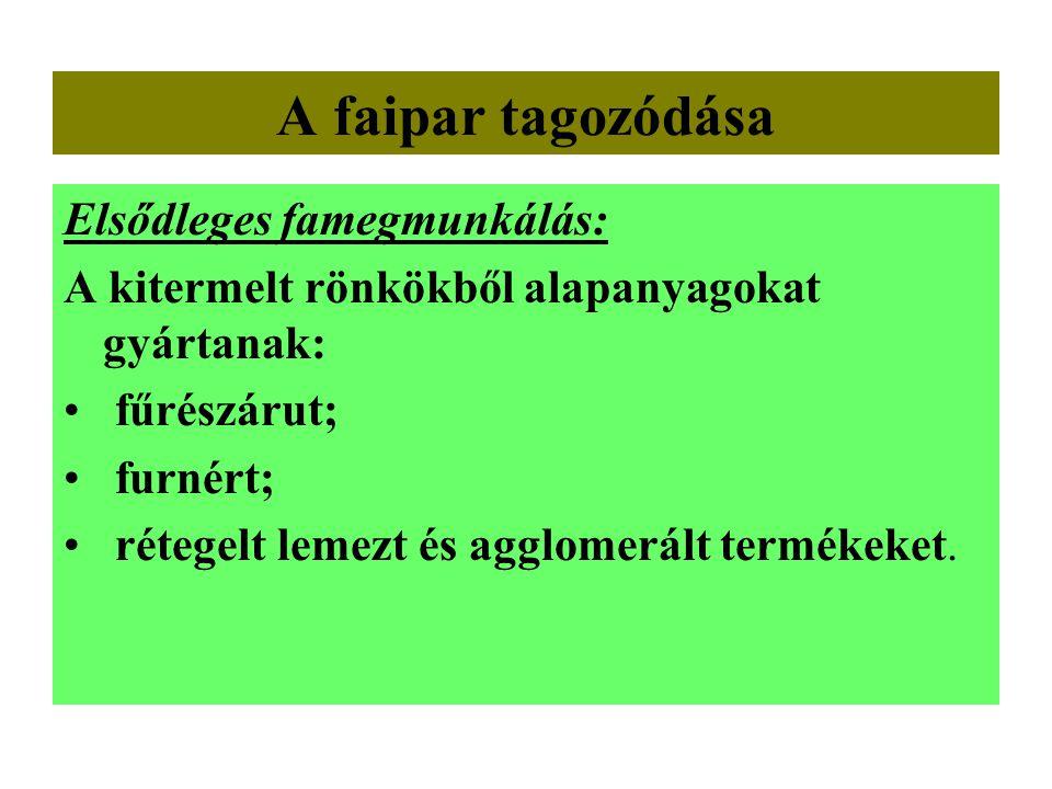 A faipar tagozódása Elsődleges famegmunkálás: A kitermelt rönkökből alapanyagokat gyártanak: • fűrészárut; • furnért; • rétegelt lemezt és agglomerált