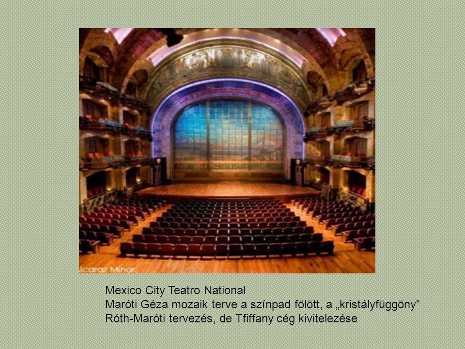 """Mexico City Teatro National Maróti Géza mozaik terve a színpad fölött, a """"kristályfüggöny"""" Róth-Maróti tervezés, de Tfiffany cég kivitelezése"""