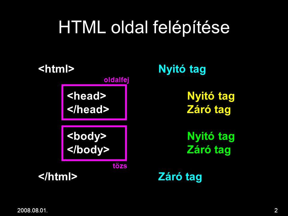 2008.08.01.2 HTML oldal felépítése Nyitó tag Záró tag Nyitó tag Záró tag oldalfej tözs
