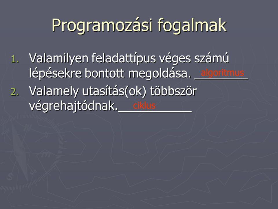 Programozási fogalmak 1.V alamilyen feladattípus véges számú lépésekre bontott megoldása.