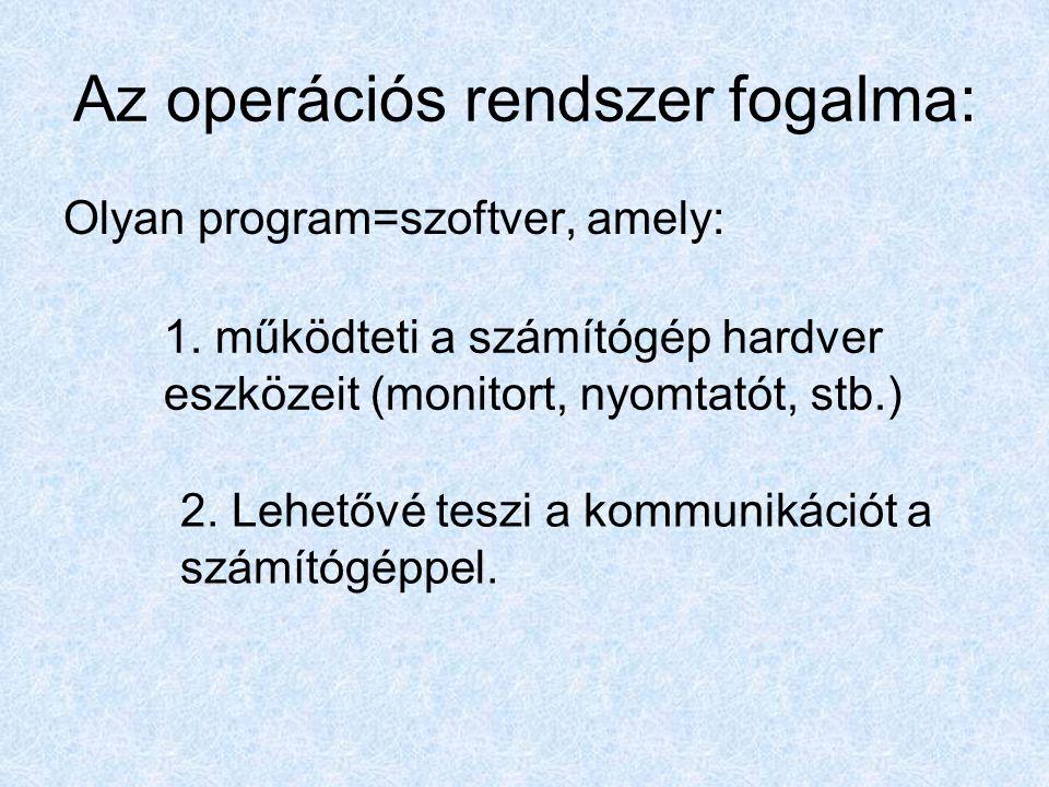 Néhány operációs rendszer 1.Windows 98, 2.Windows 2000, 3.Windows XP 4.Windows 7 Windows család: Egyéb: 1.LINUX, 2.MS DOS, 3.UNIX