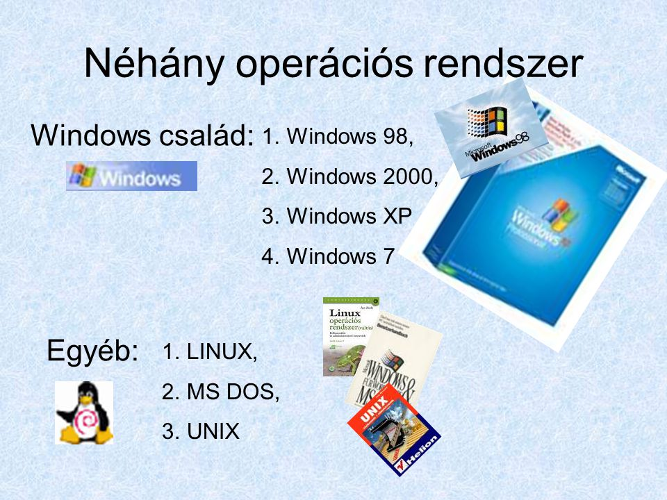 Néhány operációs rendszer 1.Windows 98, 2.Windows 2000, 3.Windows XP 4.Windows 7 Windows család: Egyéb: 1.LINUX, 2.MS DOS, 3.UNIX