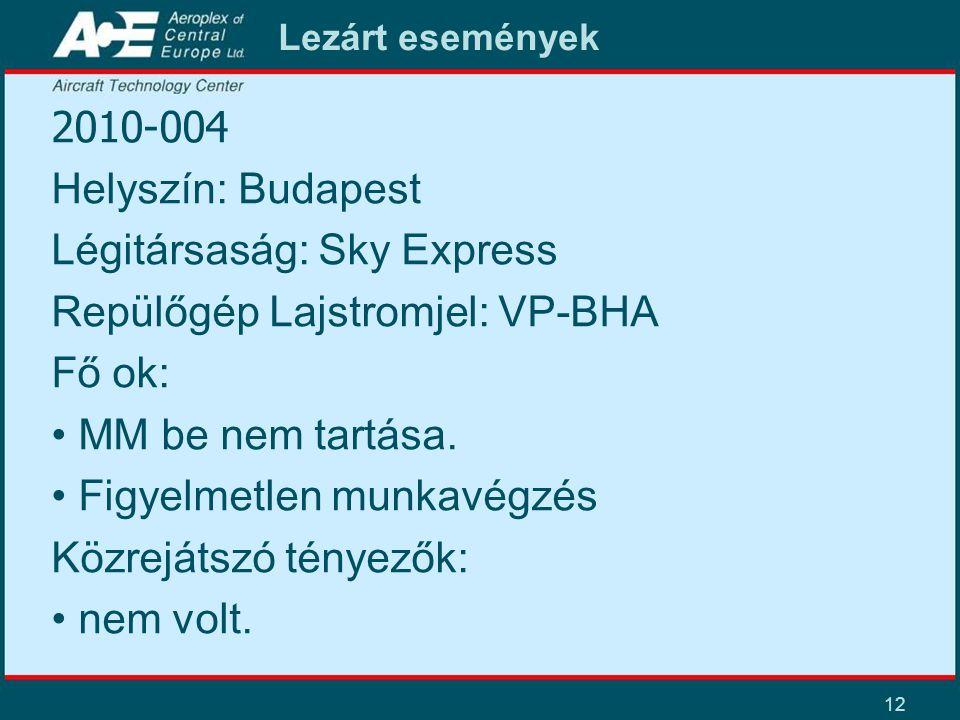 12 Lezárt események 2010-004 Helyszín: Budapest Légitársaság: Sky Express Repülőgép Lajstromjel: VP-BHA Fő ok: • MM be nem tartása. • Figyelmetlen mun