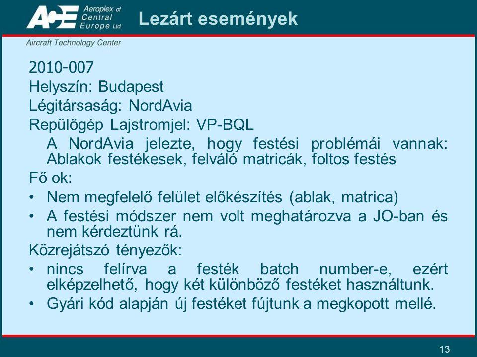13 Lezárt események 2010-007 Helyszín: Budapest Légitársaság: NordAvia Repülőgép Lajstromjel: VP-BQL A NordAvia jelezte, hogy festési problémái vannak: Ablakok festékesek, felváló matricák, foltos festés Fő ok: •Nem megfelelő felület előkészítés (ablak, matrica) •A festési módszer nem volt meghatározva a JO-ban és nem kérdeztünk rá.