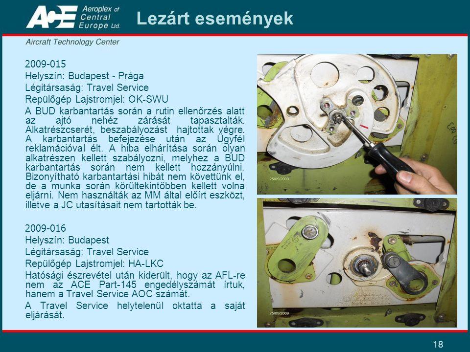 18 Lezárt események 2009-015 Helyszín: Budapest - Prága Légitársaság: Travel Service Repülőgép Lajstromjel: OK-SWU A BUD karbantartás során a rutin ellenőrzés alatt az ajtó nehéz zárását tapasztalták.