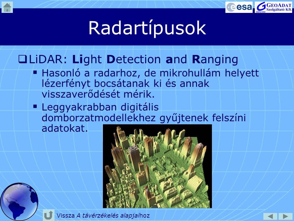 Radartípusok  LiDAR: Light Detection and Ranging  Hasonló a radarhoz, de mikrohullám helyett lézerfényt bocsátanak ki és annak visszaverődését mérik