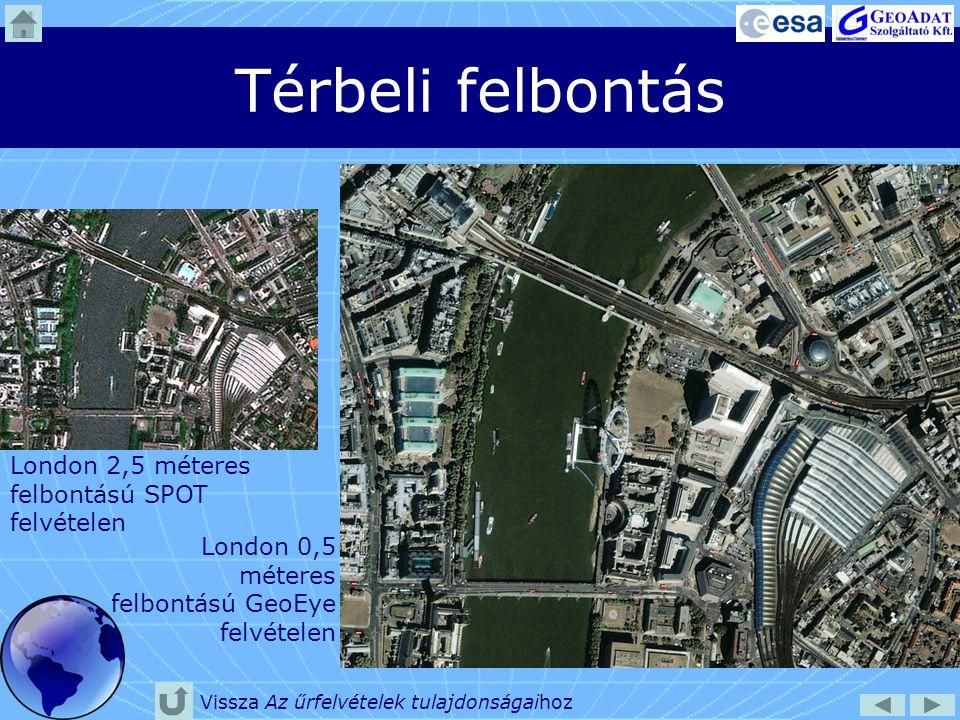 Térbeli felbontás London 2,5 méteres felbontású SPOT felvételen London 0,5 méteres felbontású GeoEye felvételen Vissza Az űrfelvételek tulajdonságaiho
