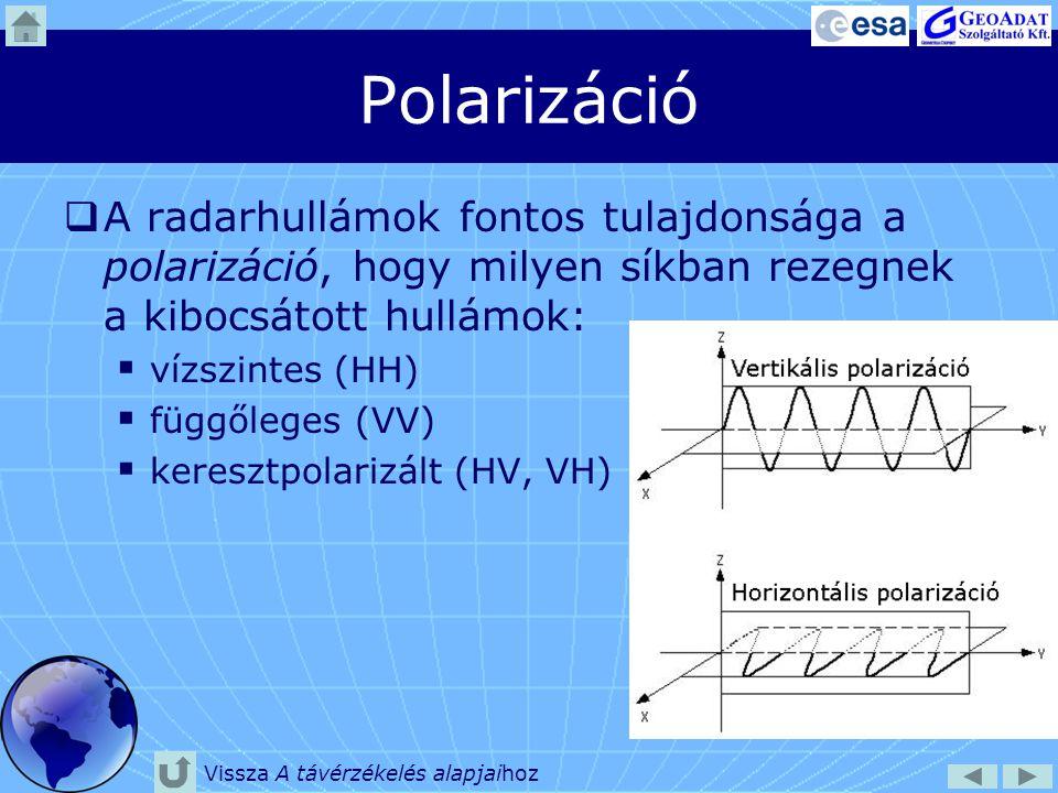 Polarizáció  A radarhullámok fontos tulajdonsága a polarizáció, hogy milyen síkban rezegnek a kibocsátott hullámok:  vízszintes (HH)  függőleges (V