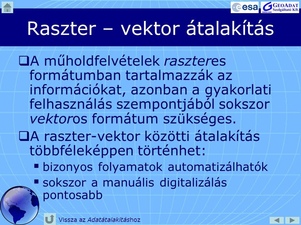 Raszter – vektor átalakítás  Automatikus átalakítás: bizonyos algoritmusok alkalmazásával a program a raszteres képen felismerhető elemeket vektoros alakzatokká (pont, vonal, poligon) alakítja.
