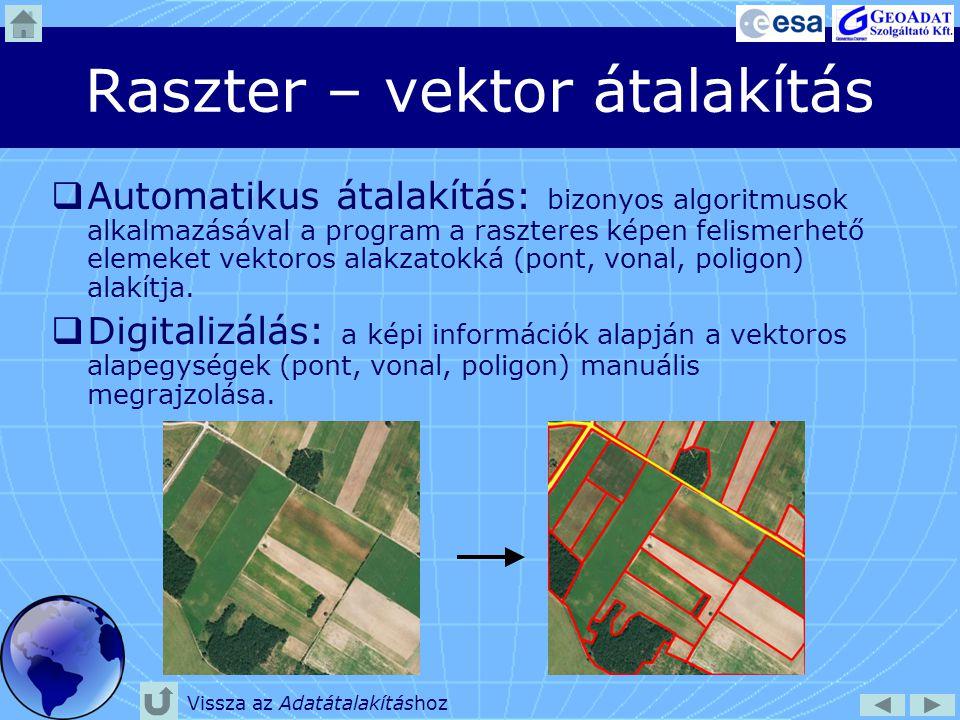 Adatelemzési módszerek  Osztályozás  Manuális osztályozás digitalizálással: a képi információk alapján az azonos osztályba tartózó egységek kézzel történő körülhatárolása.