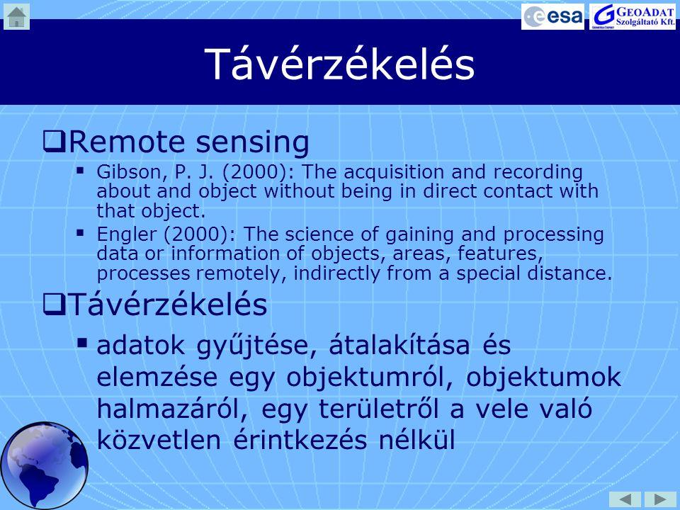A távérzékelés folyamata 1.Adatgyűjtés: szenzoros megfigyelés 2.