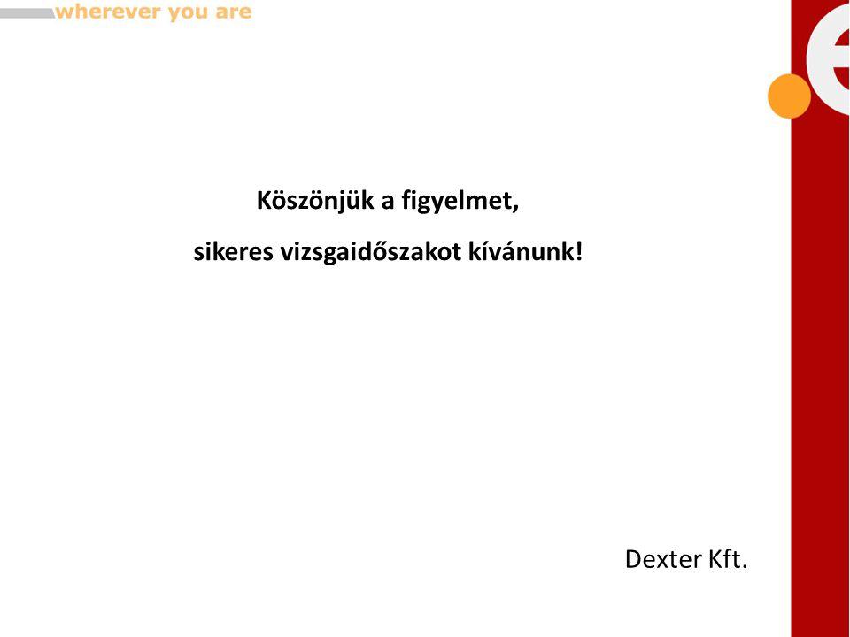 Köszönjük a figyelmet, sikeres vizsgaidőszakot kívánunk! Dexter Kft.