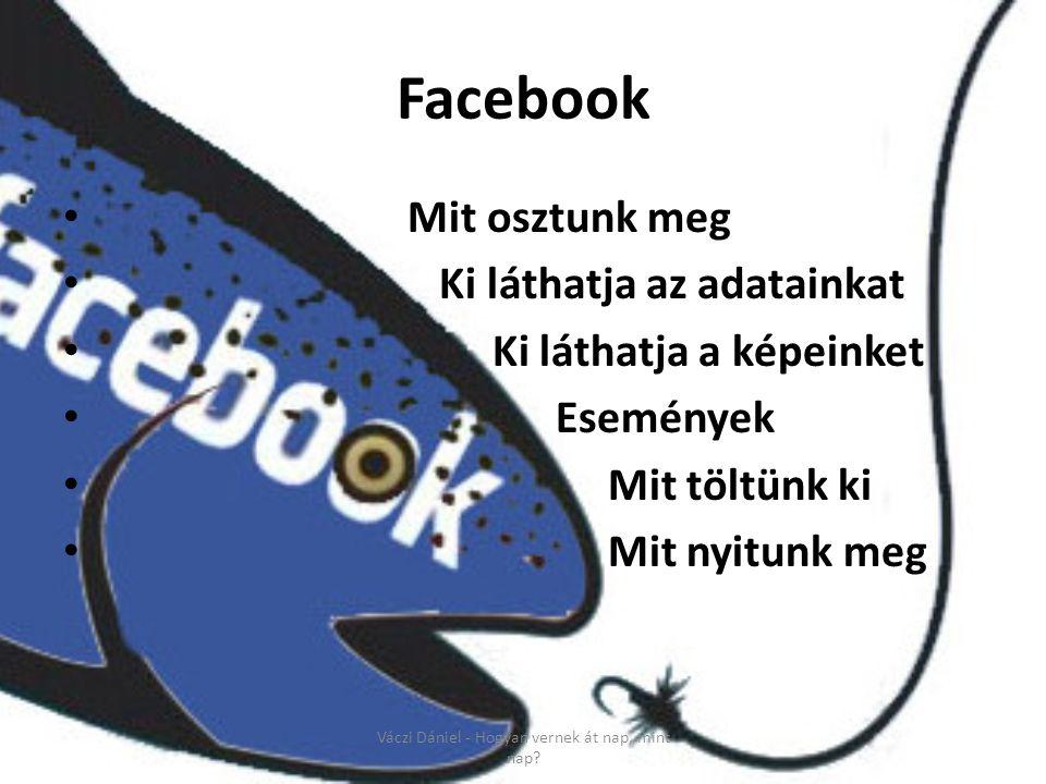 Facebook • Mit osztunk meg • Ki láthatja az adatainkat • Ki láthatja a képeinket • Események • Mit töltünk ki • Mit nyitunk meg Váczi Dániel - Hogyan