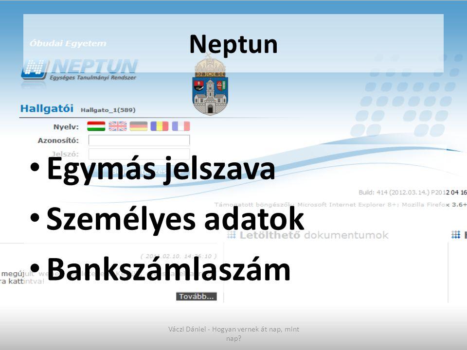 Neptun • Egymás jelszava • Személyes adatok • Bankszámlaszám Váczi Dániel - Hogyan vernek át nap, mint nap?