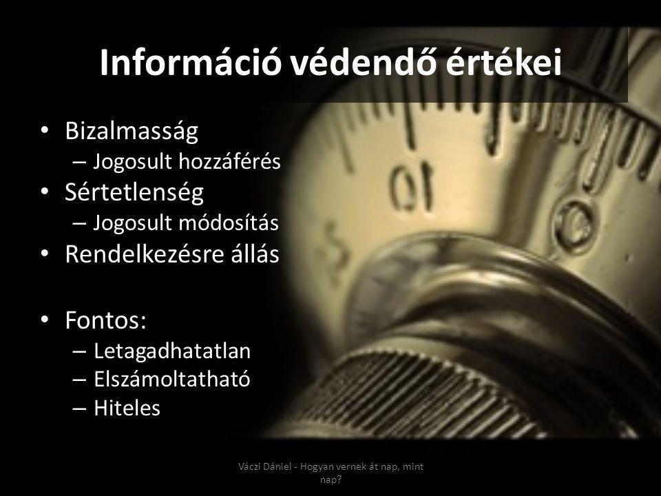 Információ védendő értékei • Bizalmasság – Jogosult hozzáférés • Sértetlenség – Jogosult módosítás • Rendelkezésre állás • Fontos: – Letagadhatatlan –