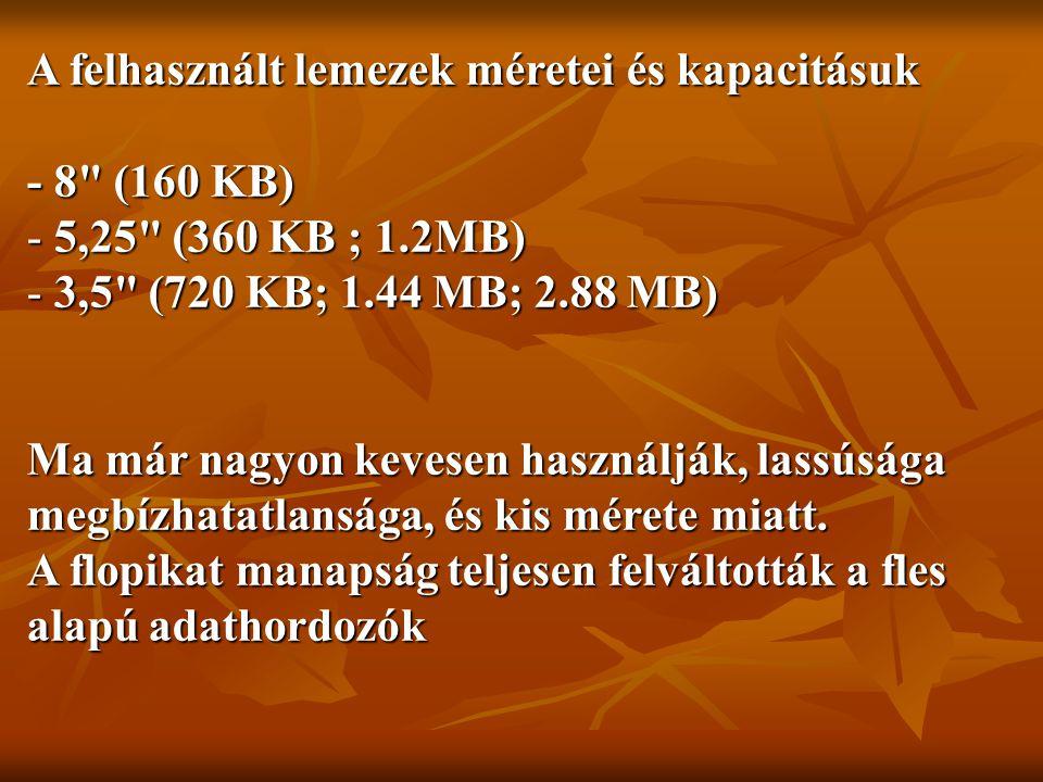 A felhasznált lemezek méretei és kapacitásuk - 8 (160 KB) - 5,25 (360 KB ; 1.2MB) - 3,5 (720 KB; 1.44 MB; 2.88 MB) Ma már nagyon kevesen használják, lassúsága megbízhatatlansága, és kis mérete miatt.