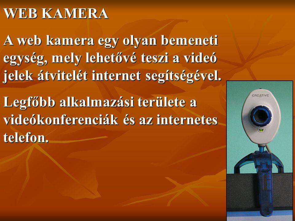 WEB KAMERA A web kamera egy olyan bemeneti egység, mely lehetővé teszi a videó jelek átvitelét internet segítségével.