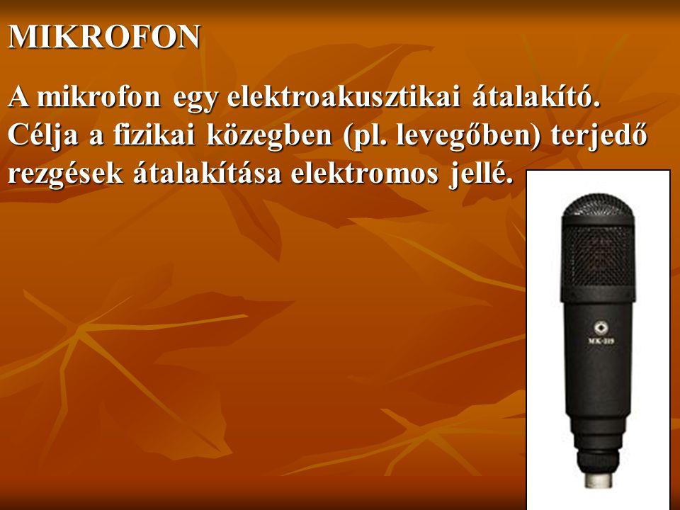 MIKROFON A mikrofon egy elektroakusztikai átalakító.