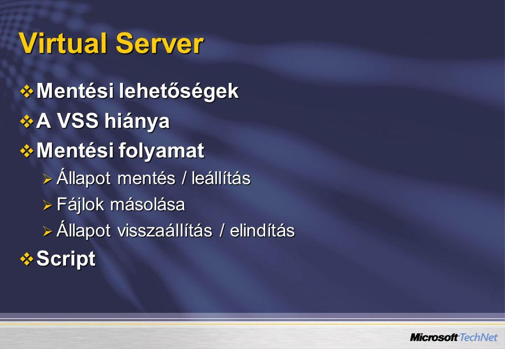 Virtual Server  Mentési lehetőségek  A VSS hiánya  Mentési folyamat  Állapot mentés / leállítás  Fájlok másolása  Állapot visszaállítás / elindí