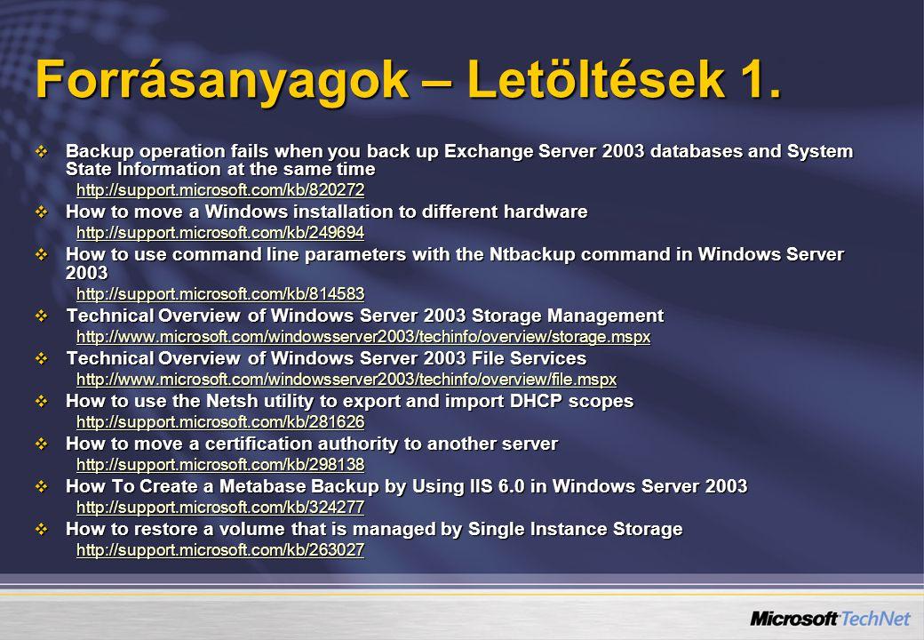 Forrásanyagok – Letöltések 1.  Backup operation fails when you back up Exchange Server 2003 databases and System State Information at the same time h