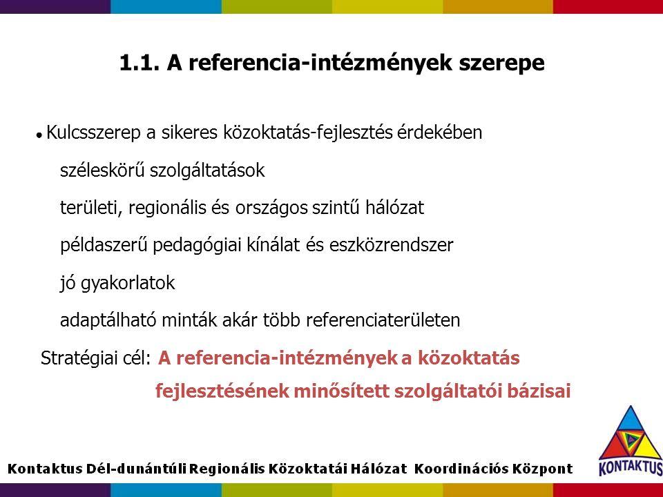 1.1. A referencia-intézmények szerepe ● Kulcsszerep a sikeres közoktatás-fejlesztés érdekében széleskörű szolgáltatások területi, regionális és ország