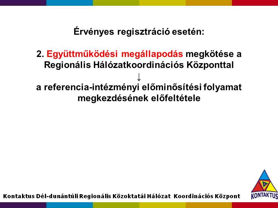 Érvényes regisztráció esetén: 2. Együttműködési megállapodás megkötése a Regionális Hálózatkoordinációs Központtal ↓ a referencia-intézményi előminősí
