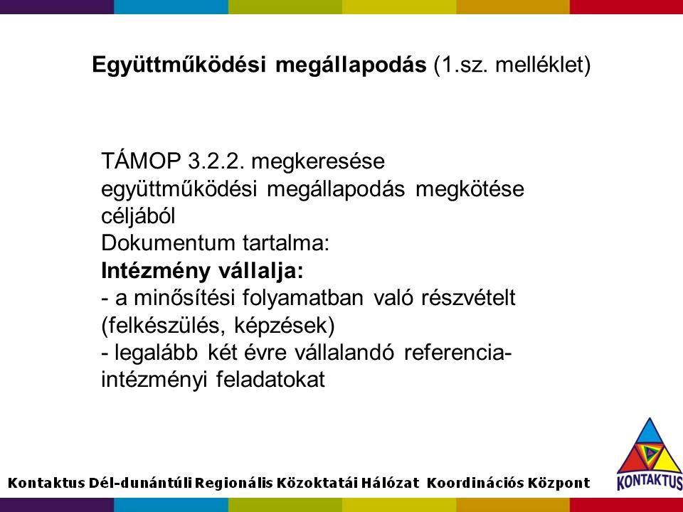 Együttműködési megállapodás (1.sz. melléklet) TÁMOP 3.2.2. megkeresése együttműködési megállapodás megkötése céljából Dokumentum tartalma: Intézmény v