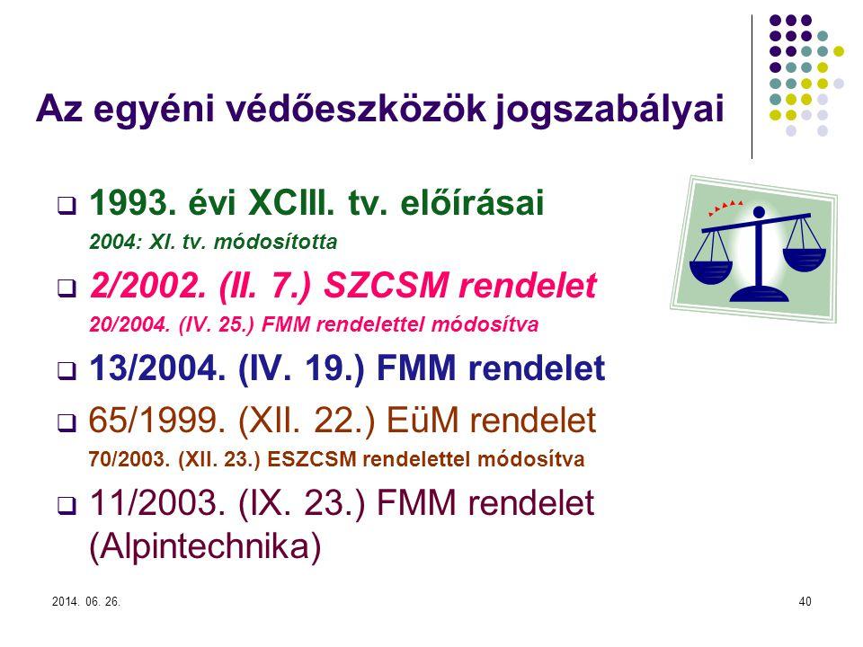 2014.06. 26.40 Az egyéni védőeszközök jogszabályai  1993.