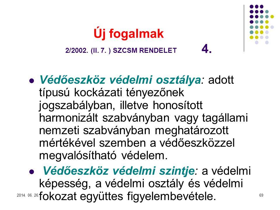 2014.06. 26.69 Új fogalmak 2/2002. (II. 7. ) SZCSM RENDELET 4.