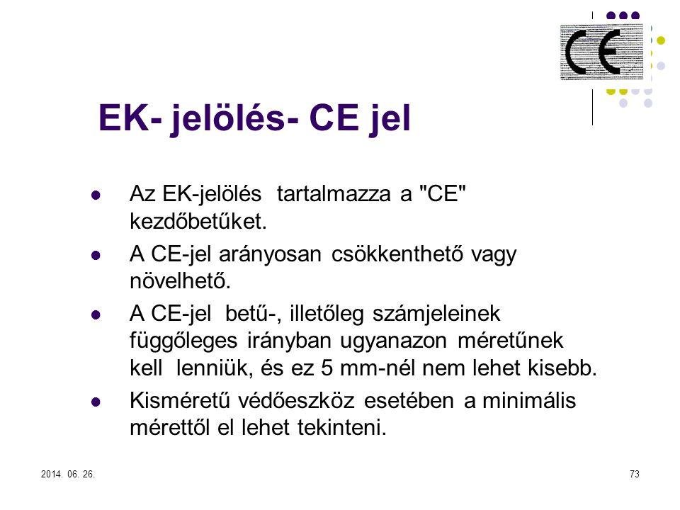 2014.06. 26.73 EK- jelölés- CE jel  Az EK-jelölés tartalmazza a CE kezdőbetűket.