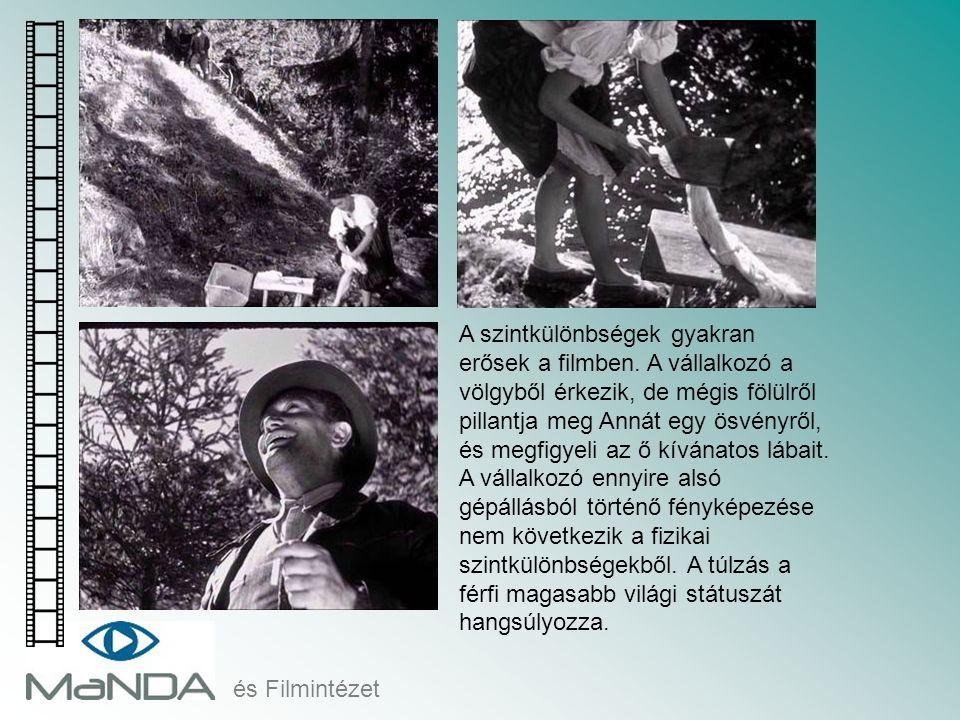 és Filmintézet A szintkülönbségek gyakran erősek a filmben. A vállalkozó a völgyből érkezik, de mégis fölülről pillantja meg Annát egy ösvényről, és m