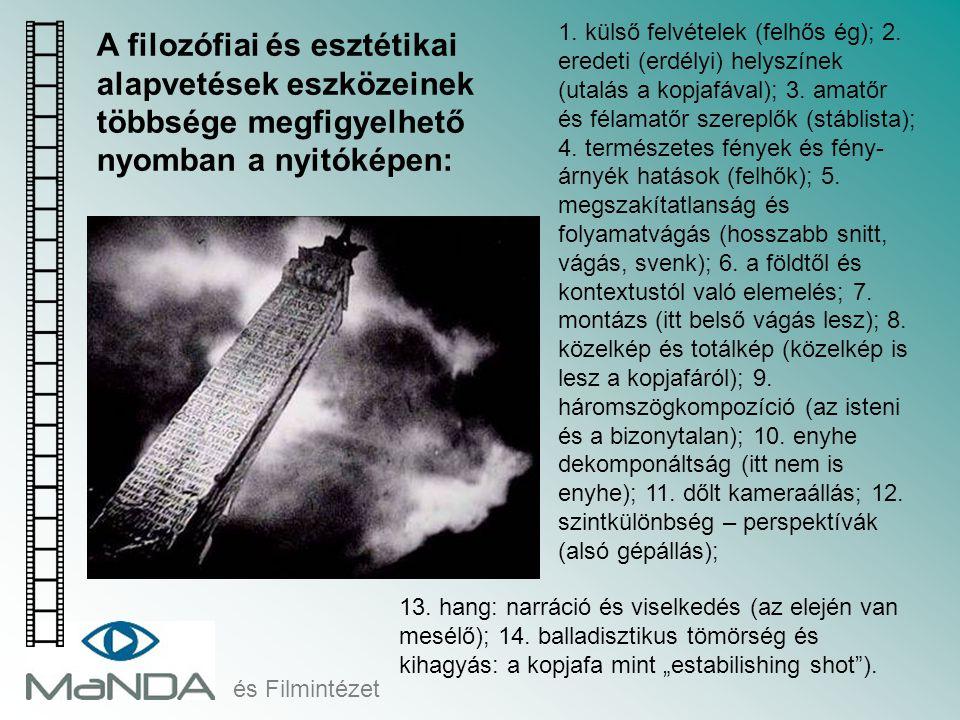 és Filmintézet A filozófiai és esztétikai alapvetések eszközeinek többsége megfigyelhető nyomban a nyitóképen: 1. külső felvételek (felhős ég); 2. ere