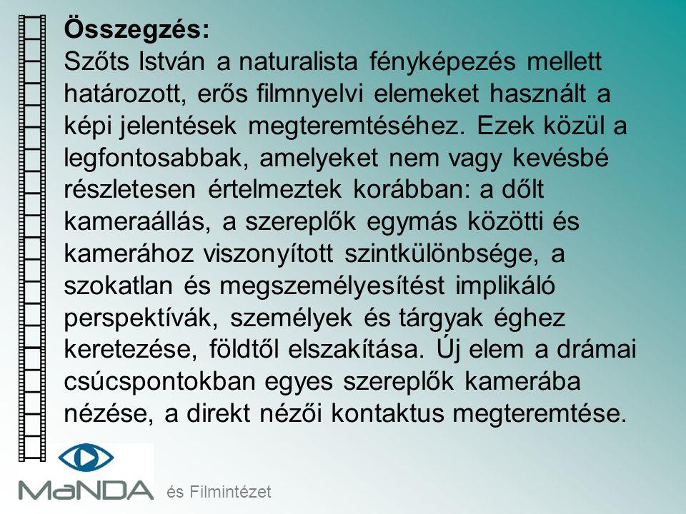 és Filmintézet Összegzés: Szőts István a naturalista fényképezés mellett határozott, erős filmnyelvi elemeket használt a képi jelentések megteremtéséh