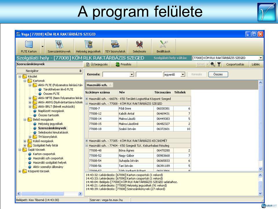 A program felülete